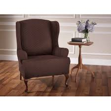 bedroom astonishing wing chair recliner slipcover for elegant snazzy dark brown sure fit stretch pinstripe 2 piece lovable wing chair recliner slipcover with wooden
