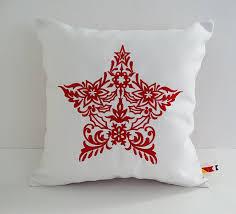 Outdoor Christmas Pillows by Scandinavian Star Custom Embroidered Christmas Pillow Cover
