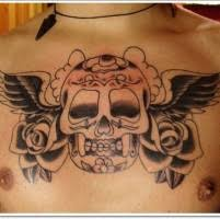 black gray sugar skull with roses on chest