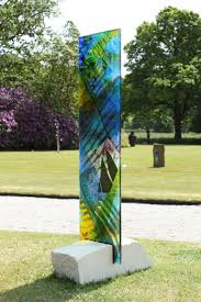 sculpture panel 1 fused coloured glass garden statue by
