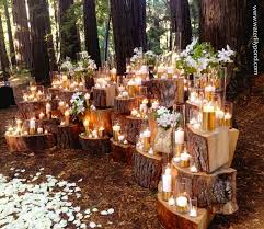 diy décor for a budget friendly wedding wood stumps altars and