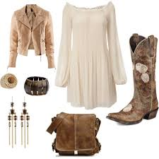 dress with cowboy boots polyvore