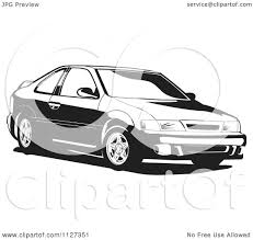 white nissan clipart of a black and white nissan lucino car royalty free