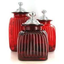 Glass Canister Sets For Kitchen by Glass Canister Set Red Glass Canister Sets Kitchen On Red Hand