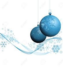 blue christmas decorations with snowflakes on white background