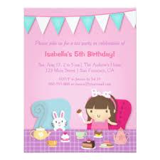 kids tea party invitations u0026 announcements zazzle