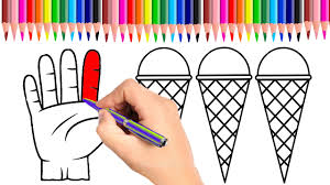 ice cream and hand coloring pages learn colors for kids youtube