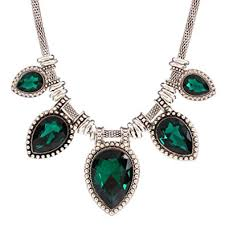 emerald green fashion necklace images Green acrylic cut tear drop bead chunky black chain jpg