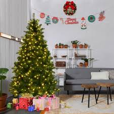 6ft christmas tree goplus 6ft pre lit artificial pvc christmas tree spruce hinged w