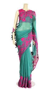 arong saree teal and fuchsia appliqué cut work muslin saree with tassel