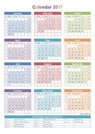 2017 calendar with holidays u0026 week numbers pdf image