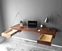 floating table walnut floating desk with storage by formolly formolly