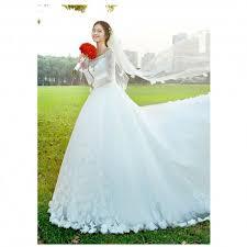 wedding dress korean 2017 new summer korean style lace sleeve wedding