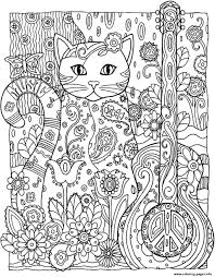 cat guitar coloring pages printable