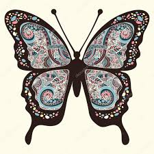 butterfly with patterns wings multicolored ornaments in