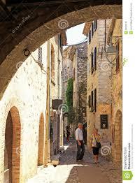 beautiful narrow street with old houses in saint paul de vence