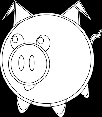 pig black white line art scalable vector graphics svg inkscape