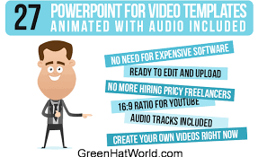 download animated powerpoint templates free green hat world