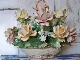 capodimonte basket of roses collectible italian capodimonte porcelain by anitasperodesign