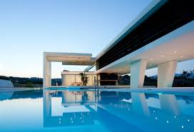 Houses With Pools Decor Futuristic Homes With Wood Wall And Flat Roof For Decor Ideas