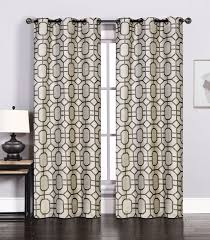 Brown And Ivory Curtains Pair Of Maritza Jacquard Ivory Charcoal Window Curtain Panels W