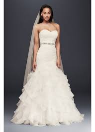 wedding dress organza mermaid wedding dress with ruffled skirt david s bridal