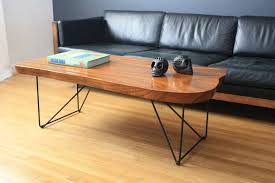 coffee table mid century wood slab coffee table natural wood
