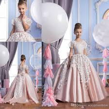white lace blush pink ball gown flower dresses 2017 princess
