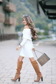 sweater dress and southern curls pearls shoulder sweater dress