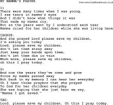 southern and bluegrass gospel song my mamma u0027s prayer lyrics