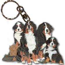 bernese mountain keychain key ring wooden