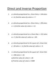 direct u0026 inverse proportion revision worksheet by matthewneely