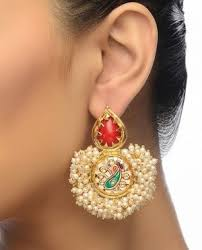 top earing earrings meenakari pearl earrings with top online