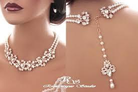 pearl rose necklace images Bridal backdrop necklace rose gold crystal wedding necklace jpg