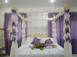 Wall Canopy Bed by Purple Curtains With White Steel Rod On White Wall Combined By