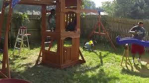 Swing Set For Backyard by Backyard Discovery Parkway Wooden Swing Set Assembly Gopro Time