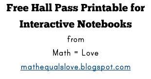 math u003d love free interactive notebook hall pass