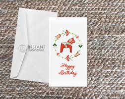 printable horse christmas cards swedish thank you etsy