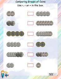Compare Numbers Worksheet Compare Coins Currency Mathsdiary Com