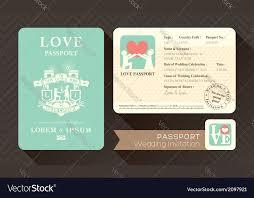 wedding invitation card design template passport wedding invitation card design template vector image