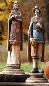 thanksgiving pilgrim statues 2 burlap wood textured thanksgiving pilgrim