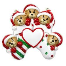 family of 5 personalized ornaments