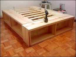 How To Build A Bed Frame With Storage Size Bed Frame With Storage Plans Woodworking Pinterest