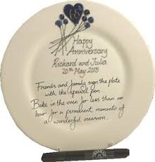 65th wedding anniversary gifts personalised 65th wedding anniversary gift plate flower rd blue