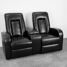 Two Seater Electric Recliner Sofa Eclipse Series 2 Seat Reclining Black Leather Theater Seating Unit