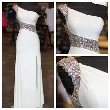 white prom dress one shoulder prom dress beaded prom dress 2017