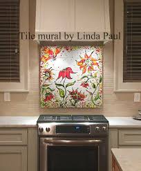 Kitchen Mural Backsplash Sunflower Diy Easy Removable Temporary Colorful Backsplash Tile