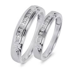 his and wedding rings 1 10 ct t w diamond his and hers wedding rings 10k white gold