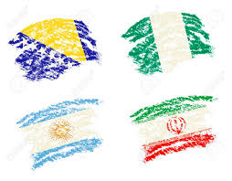How To Draw Country Flags Crayon Draw Of Group F Worldcup Soccer 2014 Country Flags Bosnia