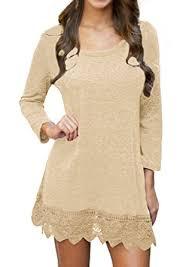 pozon women u0027s long sleeve a line lace stitching trim casual dress